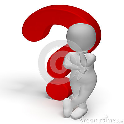 Confused Man Question Marks Royalty Free Stock Photos.