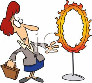 Clipart of a Unsure Businesswoman Looking a Flaming Circus Hoop.