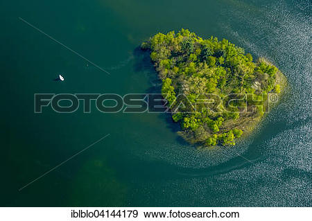 Stock Photograph of Island in Lake Unterbach, Erkrath, North Rhine.