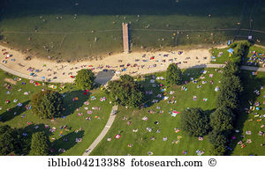 People beach resort baldeneysee essen north rhine westphalia.