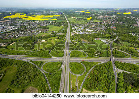 Stock Photography of Hilden motorway junction, Erkrath behind, A46.