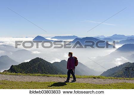 "Stock Photo of ""Hiker, mountains of Hochstaufen, Unterberg."
