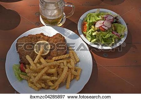 Picture of Schnitzel mit Pommes Frites, Unterfranken, Deutschland.