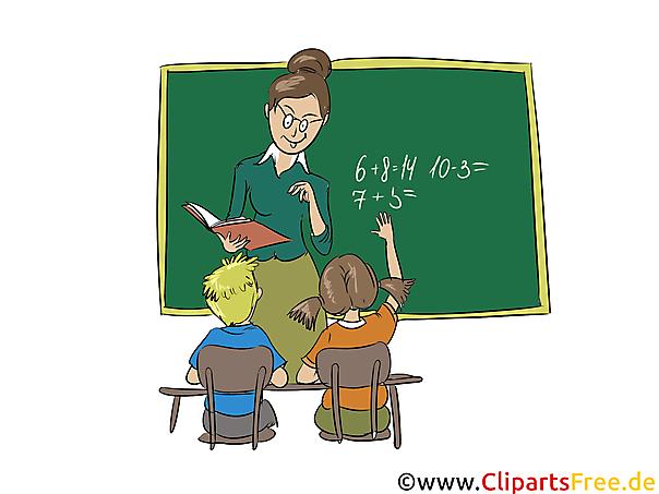 Clipart Schule, Lehrerin, Schüler, Schultafel grün, Unterricht.