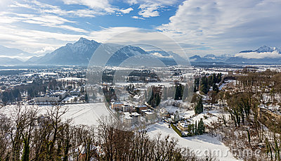 View From Hohensalzburg Castle Towards The Austrian Side Of The.