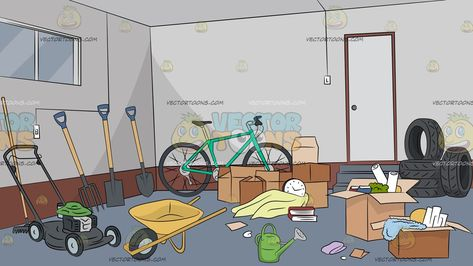 Untidy Garage Background: A messy home garage with gray.