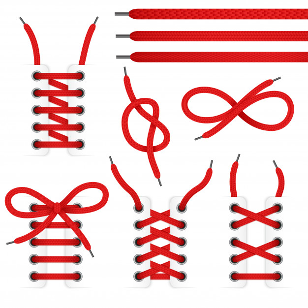 Red lace shoes icon set with tied and untied shoelaces.