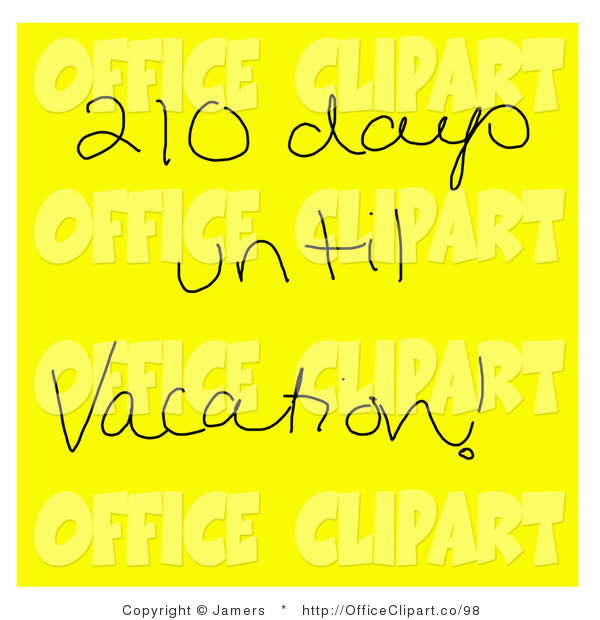 Clip Art of Hand Writing on a Yellow Sticky Note Reading 210 Days.