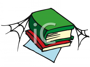 Clipart Picture of a Stack of Books with Cobwebs.