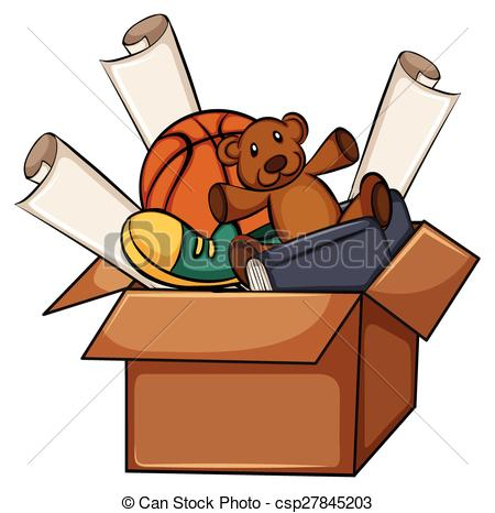 Vector Clipart of A box of unused things on a white background.