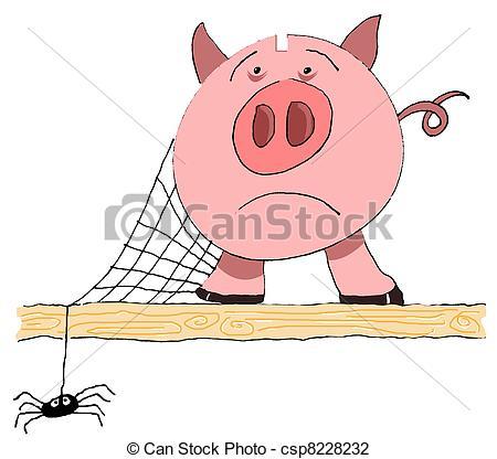 Clip Art of Unused piggy bank with cobweb.