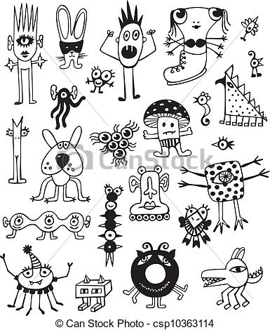 Vector Clip Art of Cute Unusual Black And White Monste.