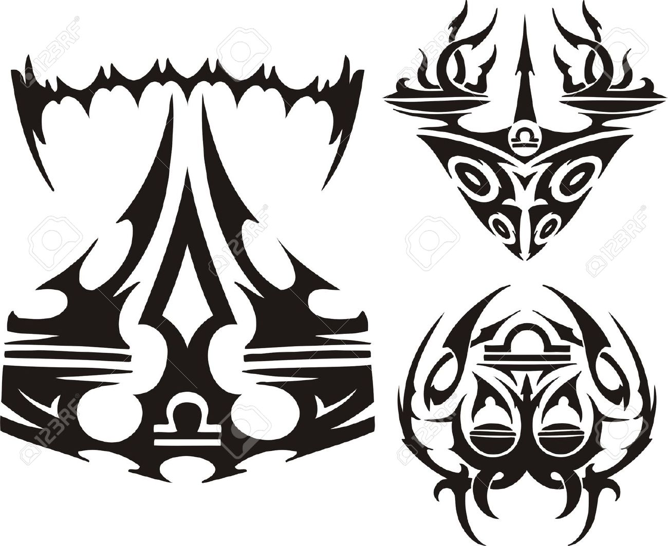 Unusual Drawings Of Scales. Tribal Clipart. Vector Illustration.