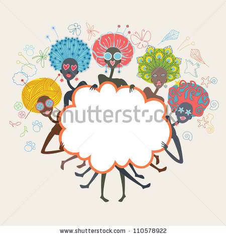 Group African Glamorous Girls Unusual Color Stock Vector 110578922.