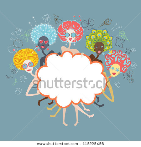 Vector Group Of Glamorous Girls With Unusual Color Hairstyles.