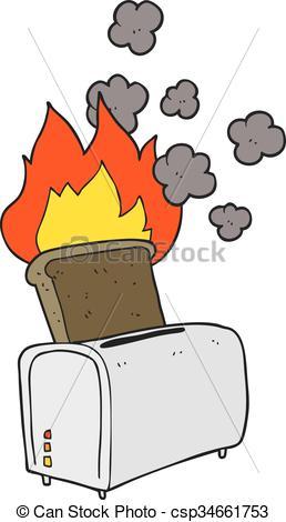 Clipart Vektor von Toast, verbrannt, karikatur.