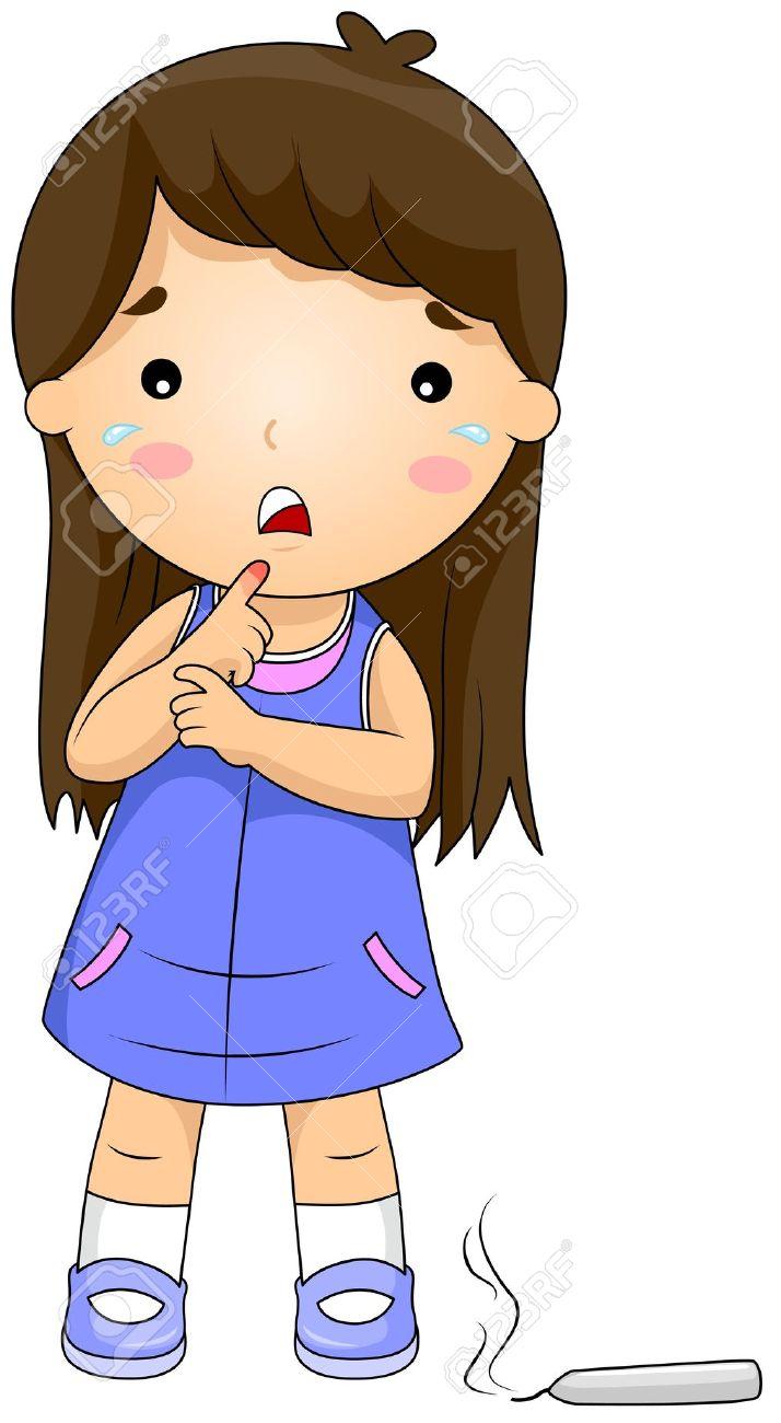 Abbildung Eines Mädchens, Ihre Finger Verbrannt Durch Eine Kerze.