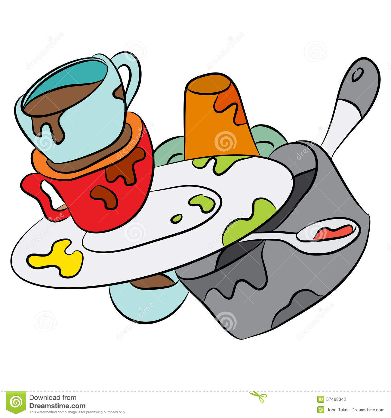 Cartoon Dirty Dishes Stock Vector.