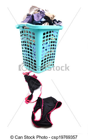Stock Images of unwashed cloth in basket.