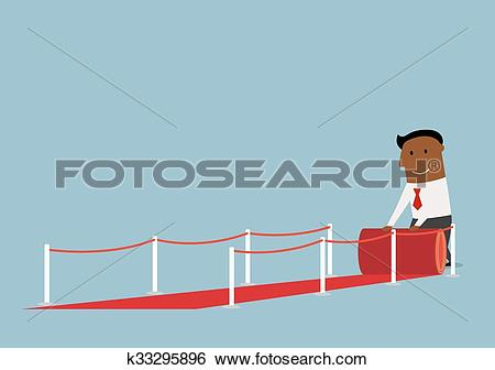 Clip Art of Happy businessman unwinding a roll of red carpet.