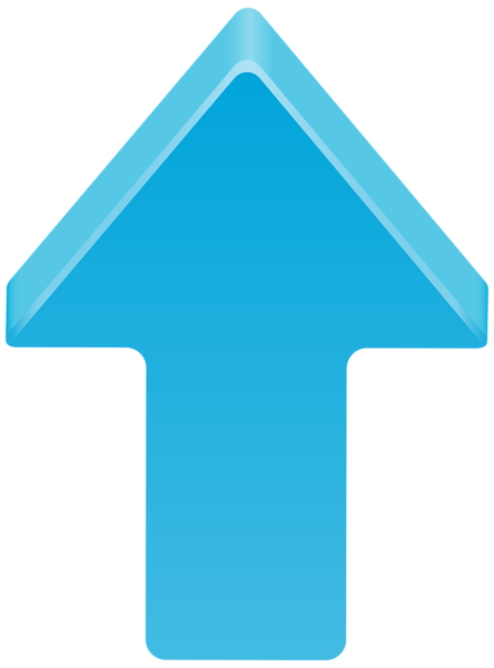 Blue Arrow Up Transparent Clip Art Image.