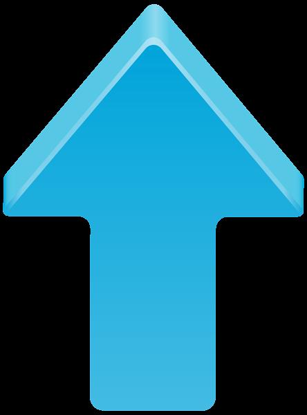 Blue Arrow Up Transparent Clip Art Image.
