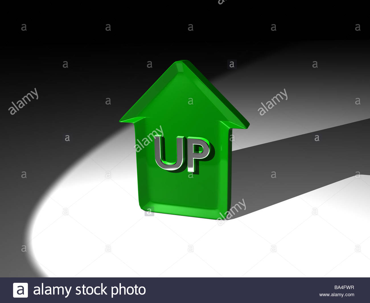 A 3D render of a green arrow pointing up, with the word 'up' in.