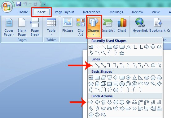 How to Draw An Arrow in Microsoft Word.