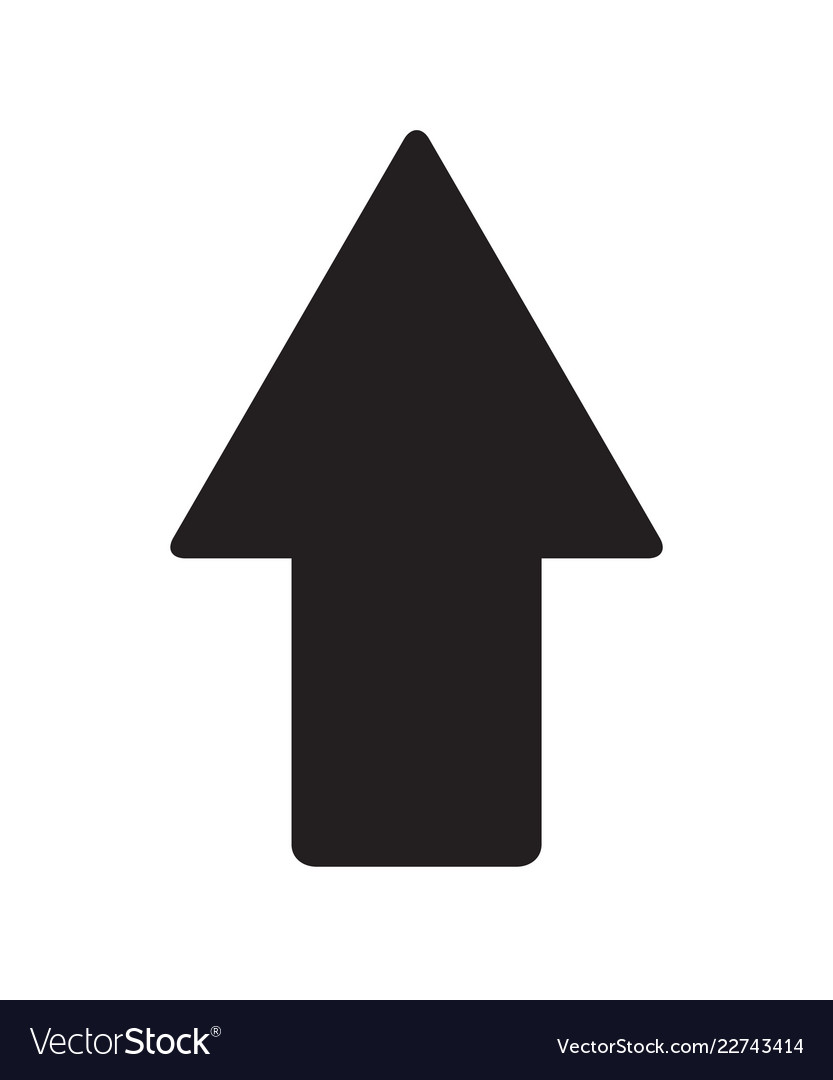 Arrow pointing up black sign on white background.