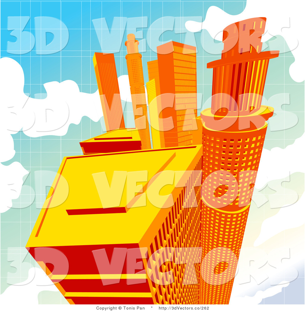 3d Vector Clipart of Orange Skyscrapers up in the Clouds by.