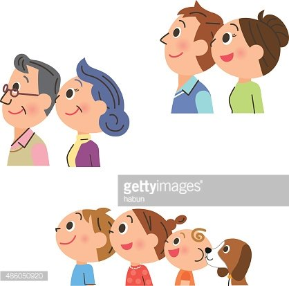 family who looks up at the sky Clipart Image.