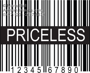 "UPC Product Code with ""Priceless"" Text Clip Art Illustration."