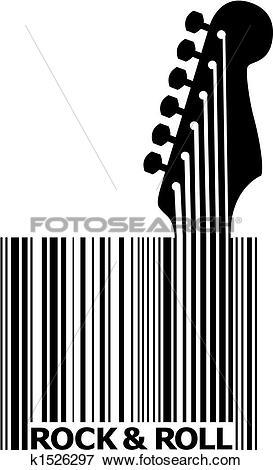 Clip Art of UPC bar code guitar k1526297.