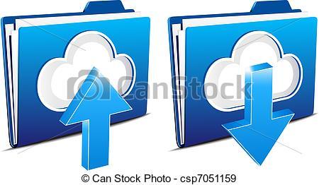 EPS Vectors of Cloud computing upload and download.