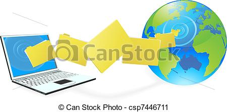 Vector Clip Art of Laptop computer uploading or downloading files.