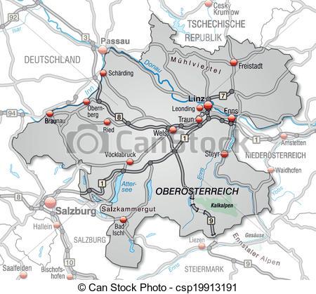 EPS Vectors of Map of upper Austria with highways in gray.