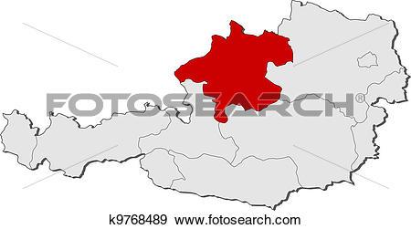 Clip Art of Map of Austria, Upper Austria highlighted k9768489.