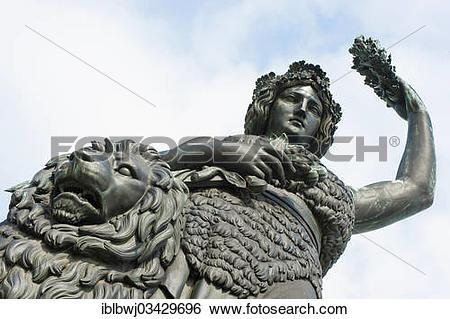 "Stock Images of ""Bavaria, statue by Ferdinand von Miller, in front."
