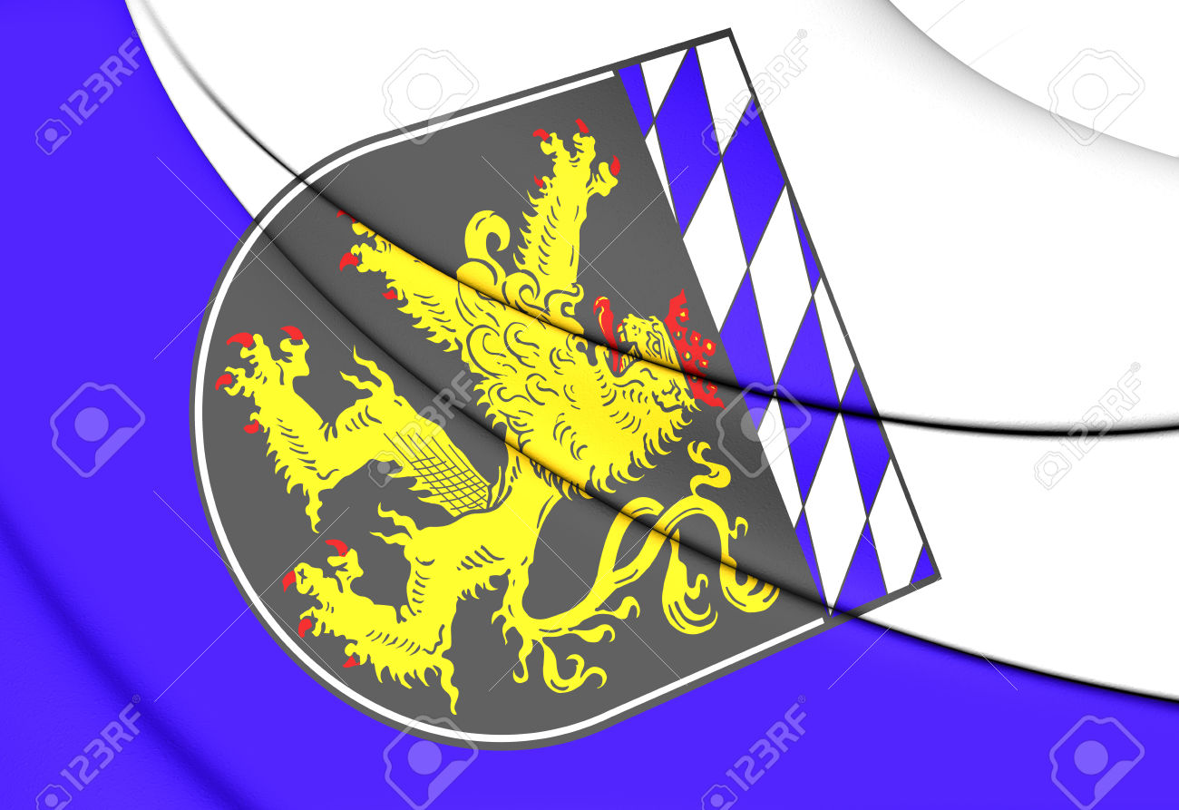 3D Flag Of Upper Bavaria Region, Germany. Stock Photo, Picture And.