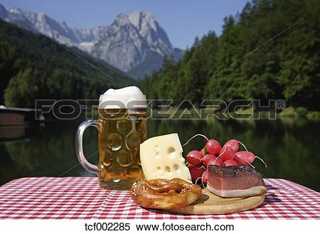 Stock Image of Germany, Upper Bavaria, Bavarian snacks on table.
