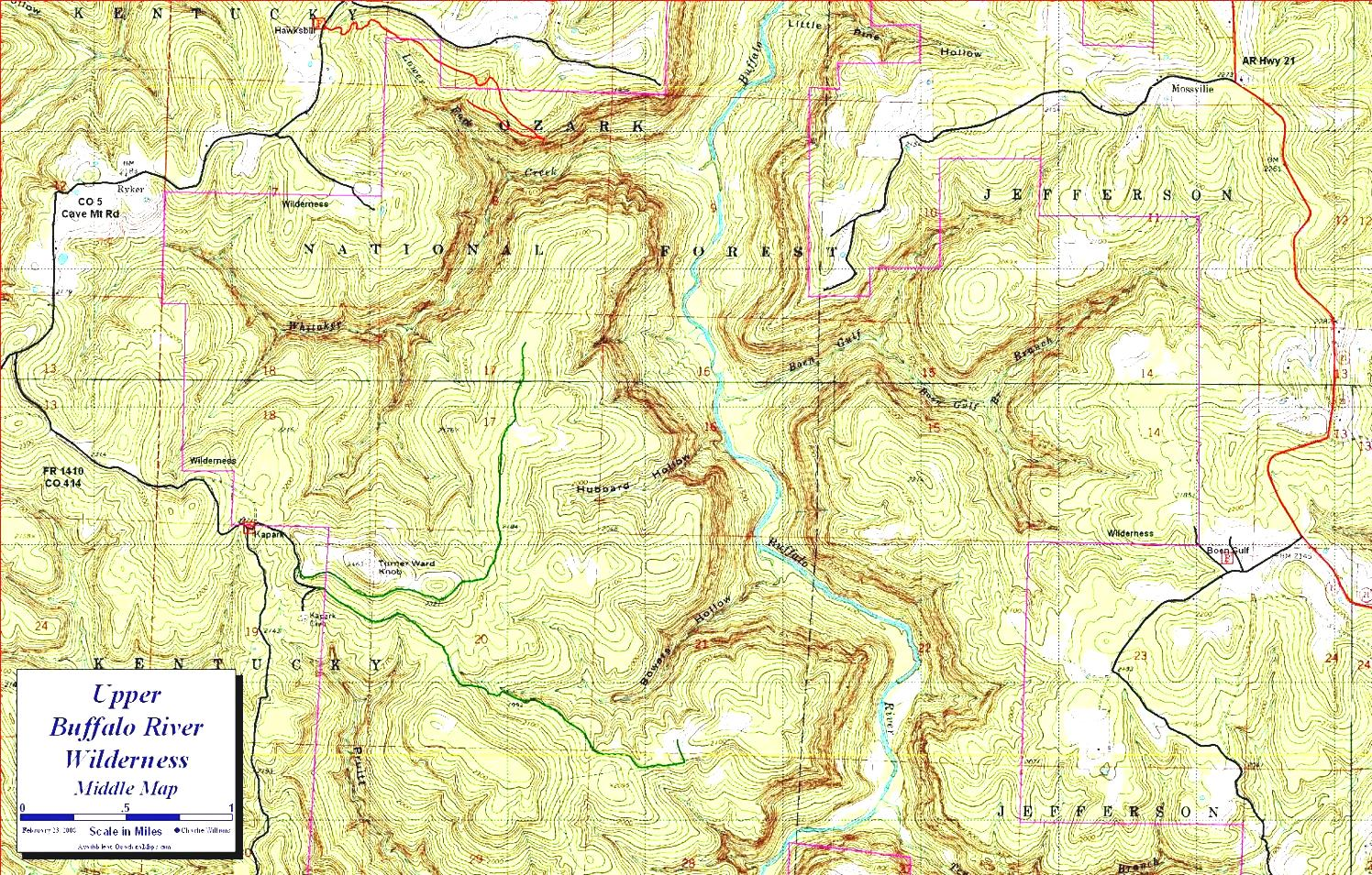 The Forest Cave Map Upper Buffalo River Wilderness Ozark Mountains.