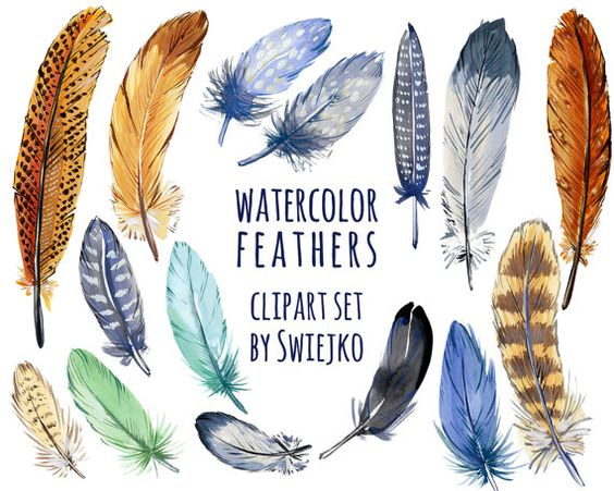Boho Feathers Digital Clipart, watercolor, wedding invitation.