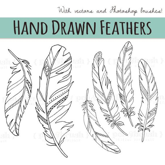 CLIP ART: Chalkboard Feather // Wedding Invitations Art // Birds.