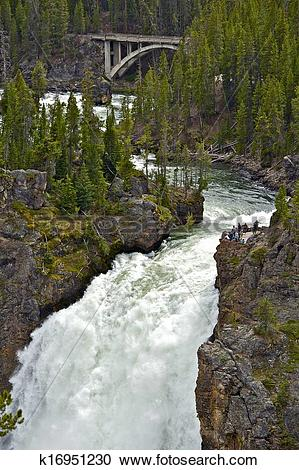 Stock Photography of Upper Falls Yellowstone k16951230.