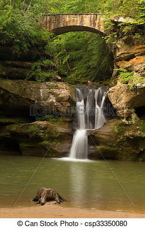 Pictures of Upper Falls at Old Man's Cave, Hocking Hills State.