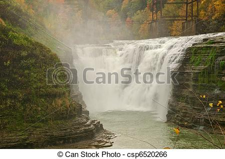 Stock Image of Upper Falls in Letchworth State Park. csp6520266.