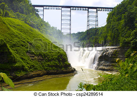 Stock Photography of Upper Falls, Letchworth State Park.