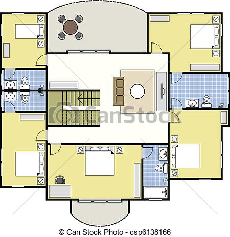 Clip Art Vector of Floorplan Architecture Plan House.