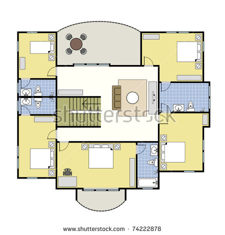 Ground Floor Plan Floorplan House Home Stock Vector 74222734.