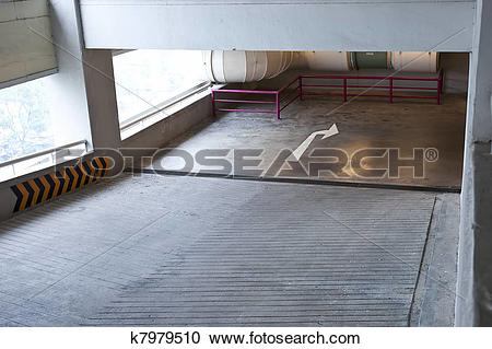 Stock Photography of ramp lane from upper floor to lower floor in.